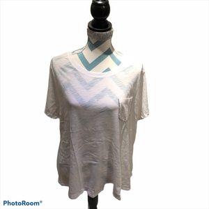 INC white Plus Size Rhinestone Pocket T-Shirt 1X